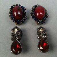 2 Pair of Beaded & Rhinestone Vintage Clip-On Earrings Red