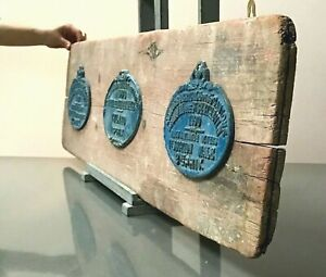 VINTAGE FRENCH AGRICULTURAL PLAQUES. MOUNTED ON AN OLD POTTERY WOODEN PLANK.