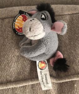 "NWT Authentic Original Disney Parks Eeyore Plush Magnet 4"" Clasp Hugger Pooh"