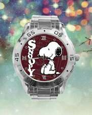 Cartoon Snoopy Watch Burgundy Face Women's Stainless Steel Band Black Box