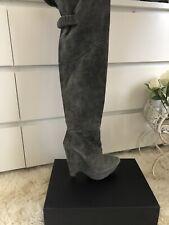 Pura Lopez grey suede over the knee-high platform boots UK 4