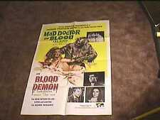 MAD DOCTOR OF BLOOD ISLAND & BLOOD DEMON COMBO ORIG MOVIE POSTER WILD HORROR