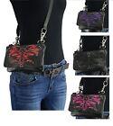 Ladies Leather BELT Bag Concealed Carry Purse Clip On Motorcycle Biker Zipper