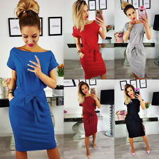 Womens Lady Summer Short Sleeve Lace Up Pocket Casual Evening Party Formal Dress