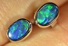 Women Opal 925 Silver Earrings with Australian Natural Black Opal Doublet
