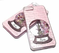 For iPhone 7 - Snow Globe Eiffel Tower Paris Pink Glitter Hearts Liquid Case