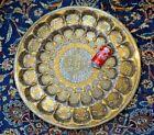 LARGE TRAY / TABLE TOP BRASS SILVER CAIROWARE DAMASCENE Turkish Ottoman Tughra