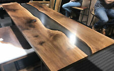 Black Epoxy Live Edge Dinning Table Top 66x32 (inches) 35mm thickness (TOP ONLY)