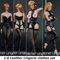 ZY TOYS 1/6 Black Leather Lingerie A-D Clothes Set For 12'' Female Body Figure
