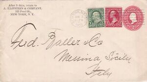 USA 1902 2c Uprated 3c Corner Card PSE New York to Messina Sicily Italy
