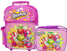 "Shopkins Large School Roller 16"" Large Backpack Lunch Bag 2pc Pink Rolling Bag"