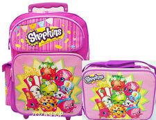 """Shopkins Large School Roller 16"""" Large Backpack Lunch Bag 2pc Pink Rolling Bag"""