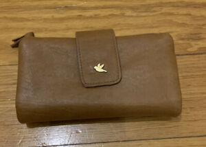 Tan BLUEBIRD wallet purse Brown Card space and coin compartment.