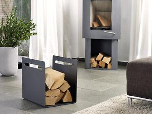 Kaminholzständer Zeitungsständer Holzkorb Aufbewahrung Holz anthrazit und weiß