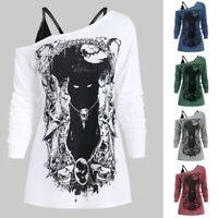 Fashion Women's Skew Neck Cold Shoulder Blouse Tops Cat Doge Print Gothic Shirt