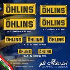 Set 9 Adesivi OHLINS moto auto Giallo e Nero