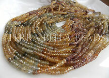 "7"" strand NATURAL ZIRCON faceted gem stone rondelle beads 4mm multicolor"