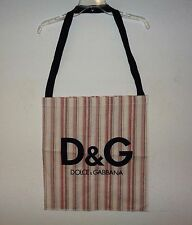 D&G DOLCE AND GABBANA STRIPED CANVAS TOTE HANDBAG TRAVEL BAG LARGE SIZE WOMENS