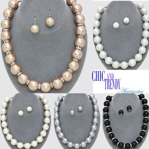 CHUNKY PEARL & CRYSTAL FORMAL OR FASHION NECKLACE JEWELRY SET TRENDY ACCESSORIES