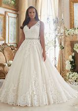 Lace AppliquesTulle Ball Gown Scalloped Hemline Plus Size Bridal Wedding Dress