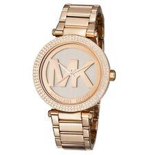 NEW Michael Kors Parker MK5865 Rose Gold Logo Dial Wrist Crystal Watch for Women