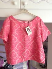 BNWT Lovely Ladies Pink Sparkly Jacquard Evening Party Top, Love Label Size 18