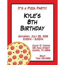 20 Personalized Birthday Invitations -  Pizza Party - Pizza Birthday