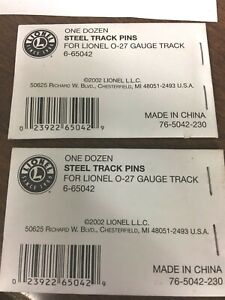 2 Packages of Lionel Steel Pins For O-27 Gauge Track 6-65042 12 in Each Package