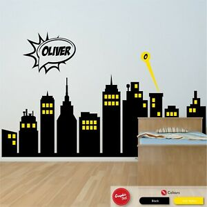 Superhero City Skyline Full Wall Custom Name Wall Art Sticker Boys Bedroom Decal