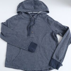 Patagonia Women's Hoodie Size Small Hooded Snap Henley Long Sleeve Blue Shirt