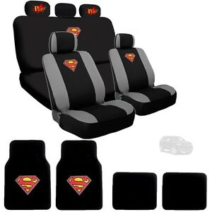 For Jeep Superman Ultimate Car Seat Covers POW Logo Headrest Covers Mats Set