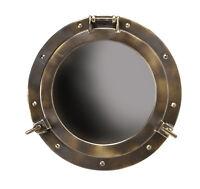 """Large Ships Cabin Porthole Mirror 20"""" Aluminum Bronze Finish Nautical Wall Decor"""