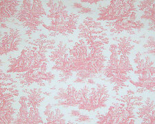 Drapery Upholstery Fabric 100% Cotton Duck Jamestown Toile - Baby Pink / White
