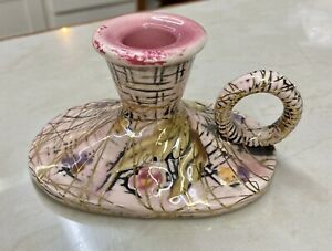 HULL POTTERY BLOSSOM FLITE VINTAGE PINK CANDLESTICK HOLDER