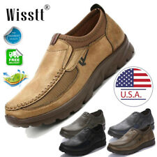 Mens Leather Casual Shoes Breathable Driving Loafers Slip on Moccasins Hiking US