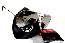 New RAY-BAN RB3025 mirror lens aviator 58mm sunglasses made in ITALY + case