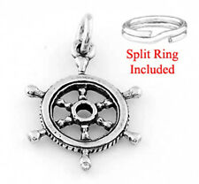 "SILVER ""CAPTAIN / PIRATE WHEEL"" CHARM WITH SPLIT RING"