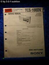 Sony Service Manual TCS 100DV Cassette Corder (#4085)