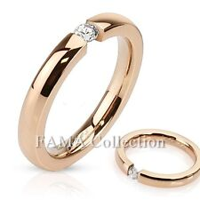 FAMA Stainless Steel Rose Gold IP Band Ring with 3mm Tension Set CZ Size 5-8