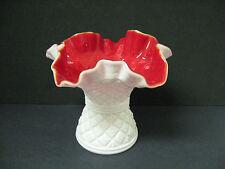 vtg MILK WHITE glass vase CRIMSON RED inside RARE find