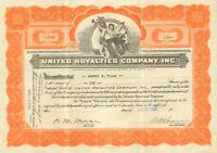 United Royalties Company > 1929 oil stock certificate share