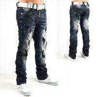 Pantalon hommes Jeans VIP Dirty vintage destroyed clubwear style noir Neuf