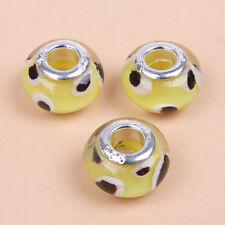 20x 152044 Lampwork Glass Brown Dots Yellow European Beads Fit Bracelets