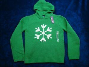 NWT Gap Kids Boys Girls Medium 7-8 Green Snowflake Christmas Hooded Wool Sweater