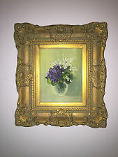 Antique signed Oil on Canvas Bouquet of Spring Flowers~Gilt Frame