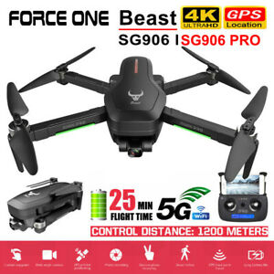 Force One SG906 Pro Foldable GPS RC Drone with 4K HD Camera 2 Axis Anti-Shake