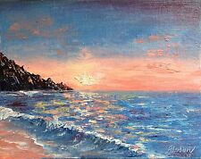 Sunset painting, sunrise over the sea,ocean oil painting, wave painting, marine