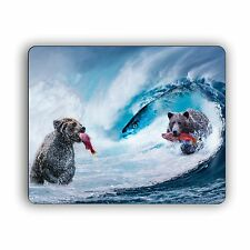 Bears Fishing In The Waves Computer Mouse Pad For Desktops and Laptops