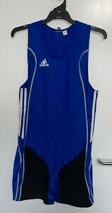 Adidas W8 Weightlifter Singlet Suit L/XL Blue White Wrestling Powerlifting