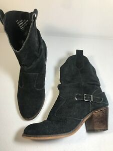 Decree Black Leather Pull On Women's Slouchy Heel Ankle Booties Size 7 M Buckle